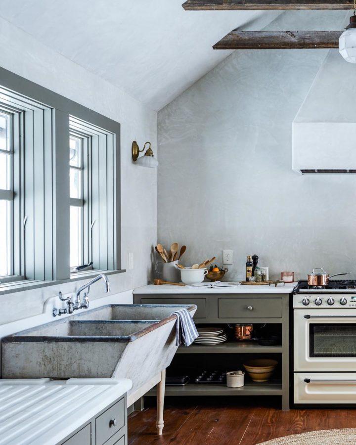 серый винтажный дизайн кухни