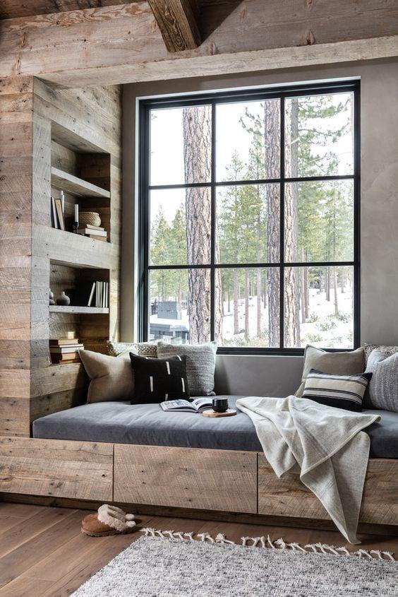 деревянный встроенный уголок для чтения с полками