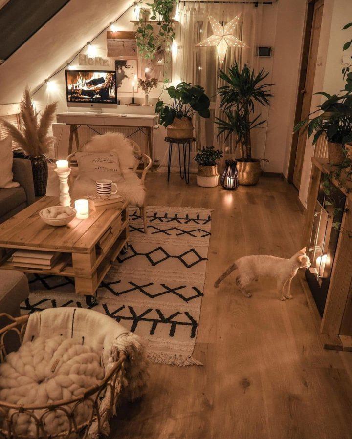 гостиная в стиле бохо с марокканским моющимся ковром